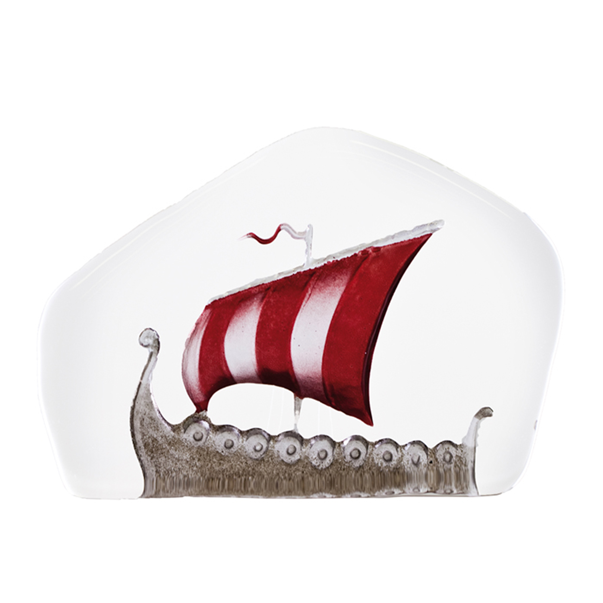 The Vikings represent a period approx. 800 – 1050 AD in Nordic history of great expansion and exploration. The Vikings travelled by boats called Long ships. Painted crystal. Brand: Mats Jonasson Målerås Data: Size: 105 x 75 mm Designer: Mats Jonasson