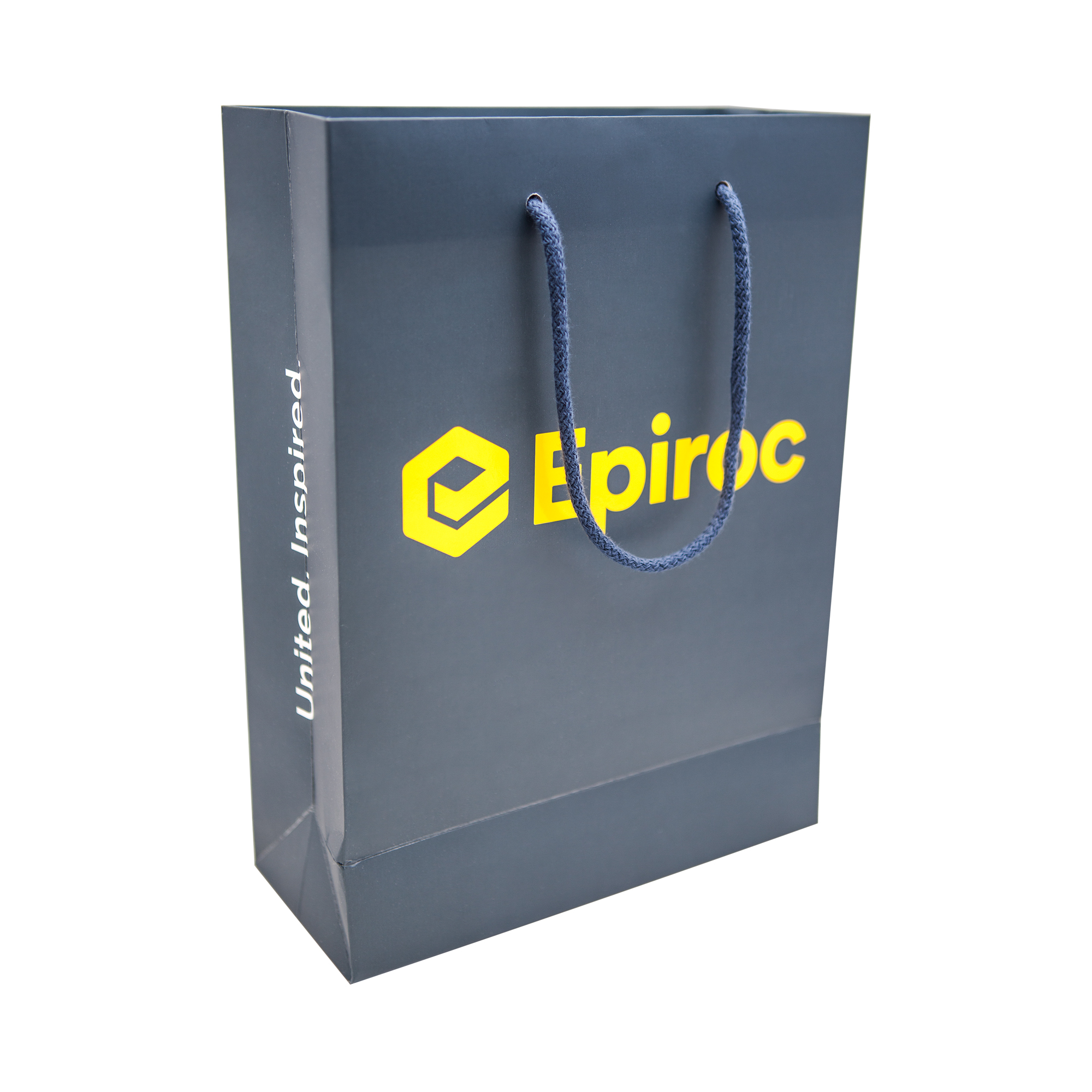 A high quality gift bag with a matte surface, glossy print and string handles. Use it as a gift box for your branded items or product catalogues.