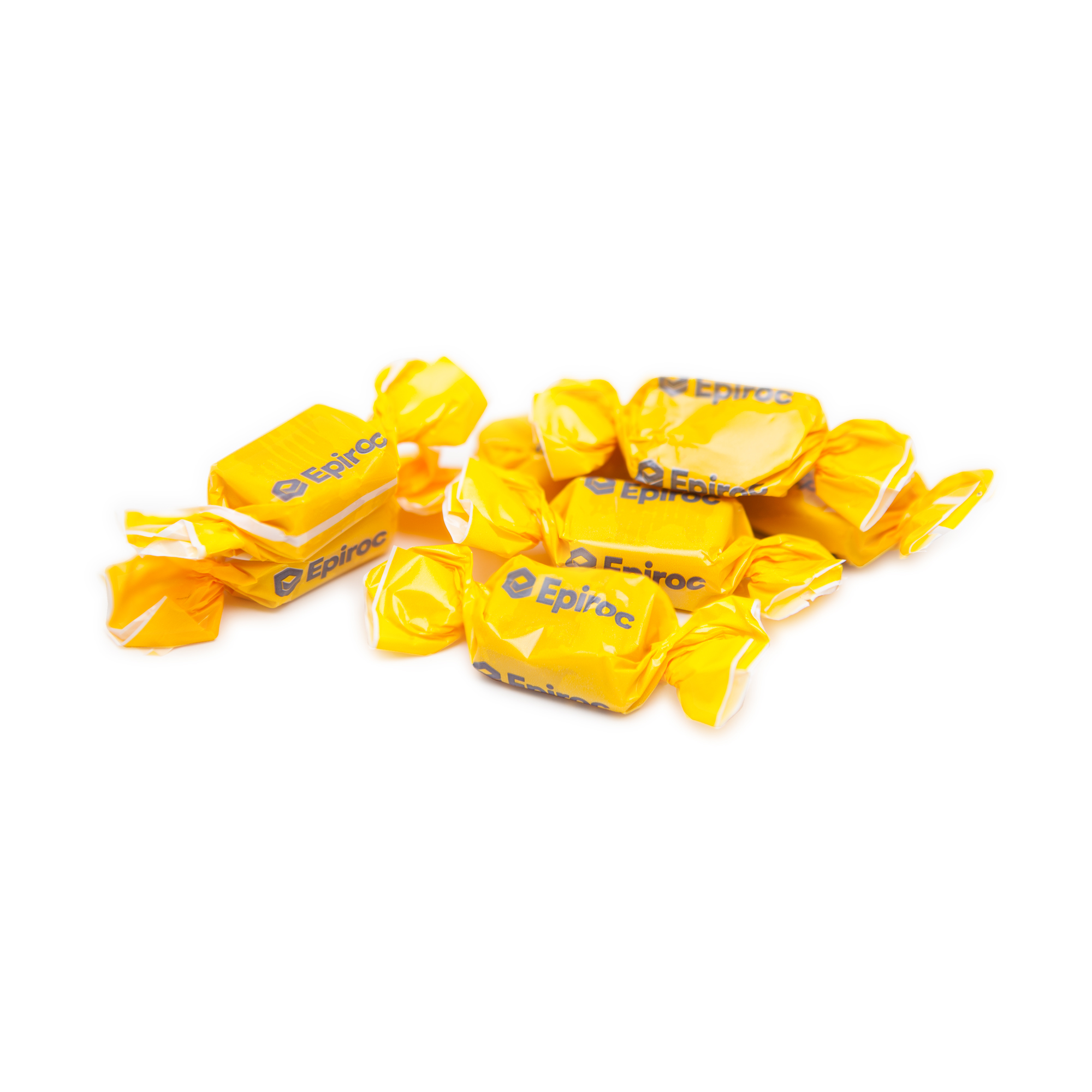 Tasty toffee wrapped in Epiroc branded wrapping paper. Ideal at events and in reception areas.