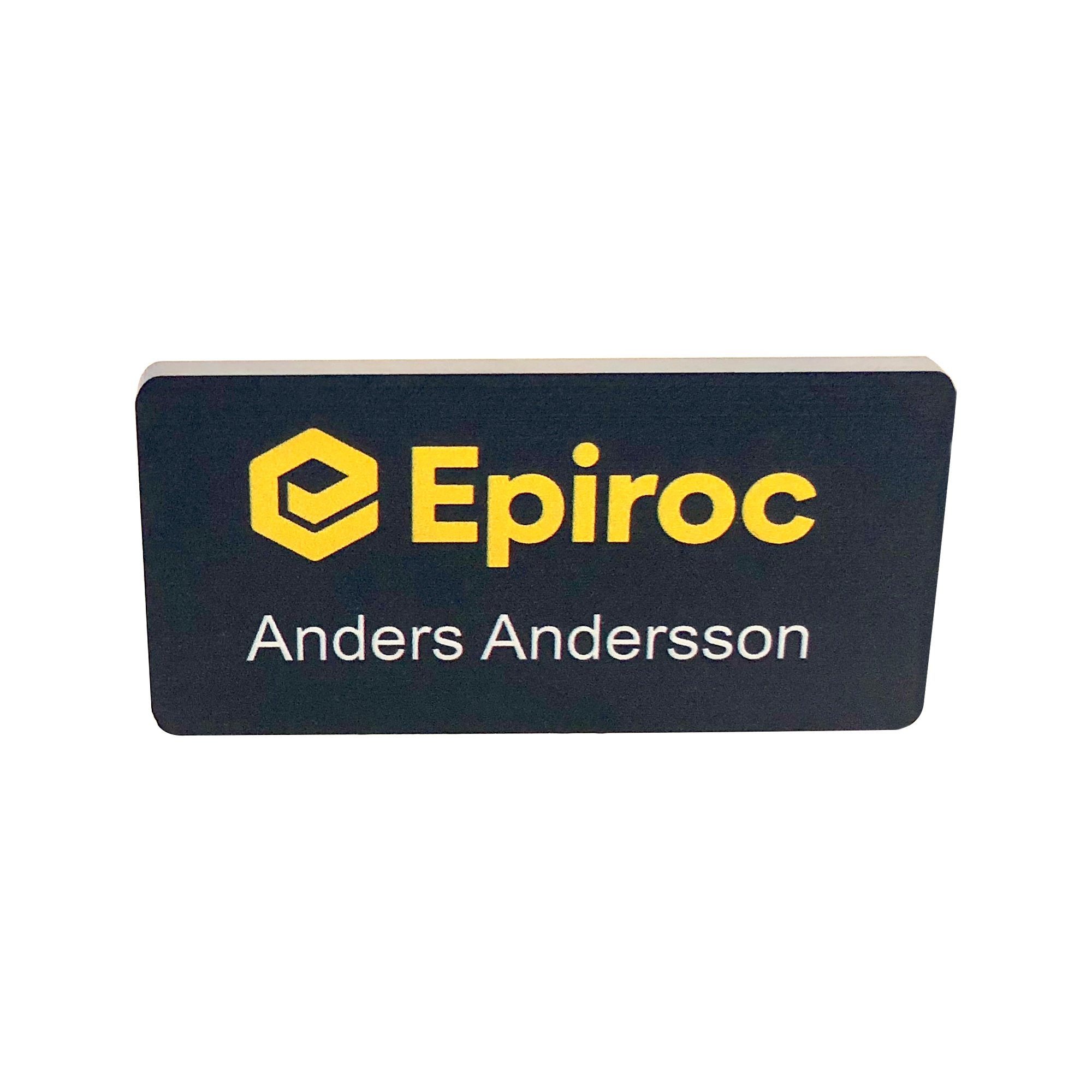 Acrylic name badge with Epiroc logo. Including a magnet for attaching the badge. Your own personal name will be printed upon request.