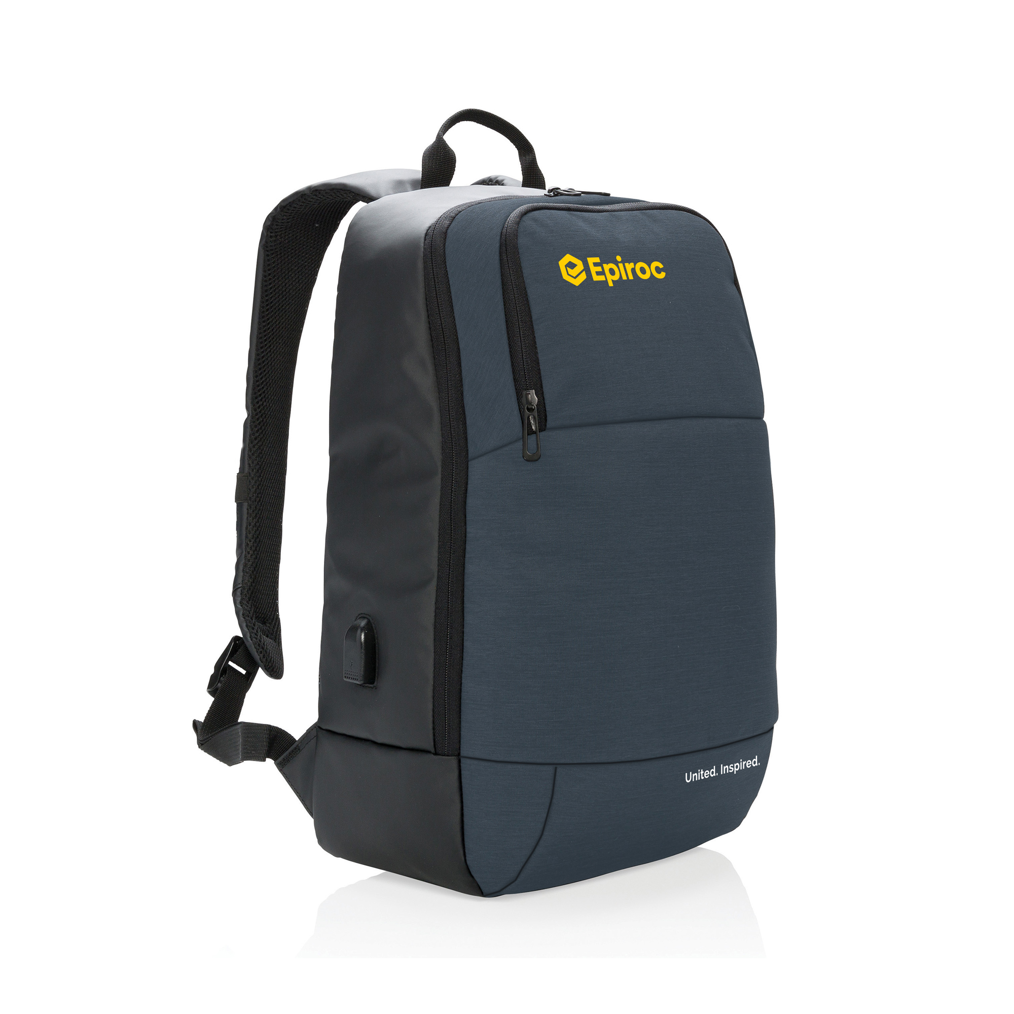 "Fashionable 15"" laptop backpack two tone polyester with PU. 