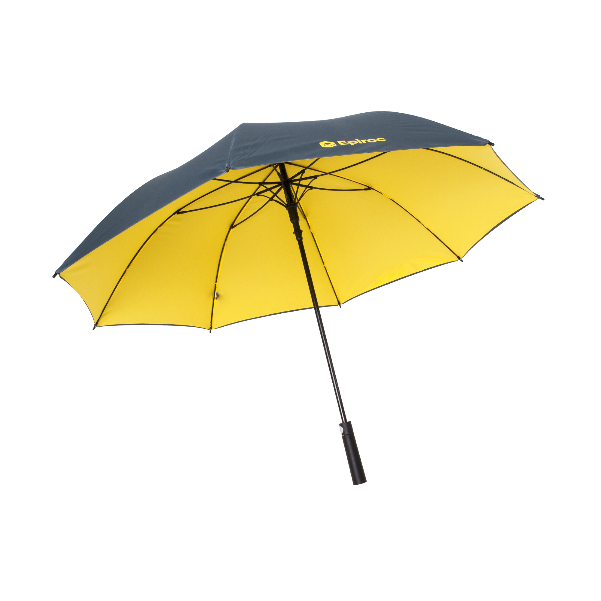 Solid and large umbrella made of fiber glass. Equipped with swift automatic opening and rubber finish on handle. Made out of recycled PET polyester material. Own pms colours on outer and inner fabric. Brand promise as rubber doming on handle.