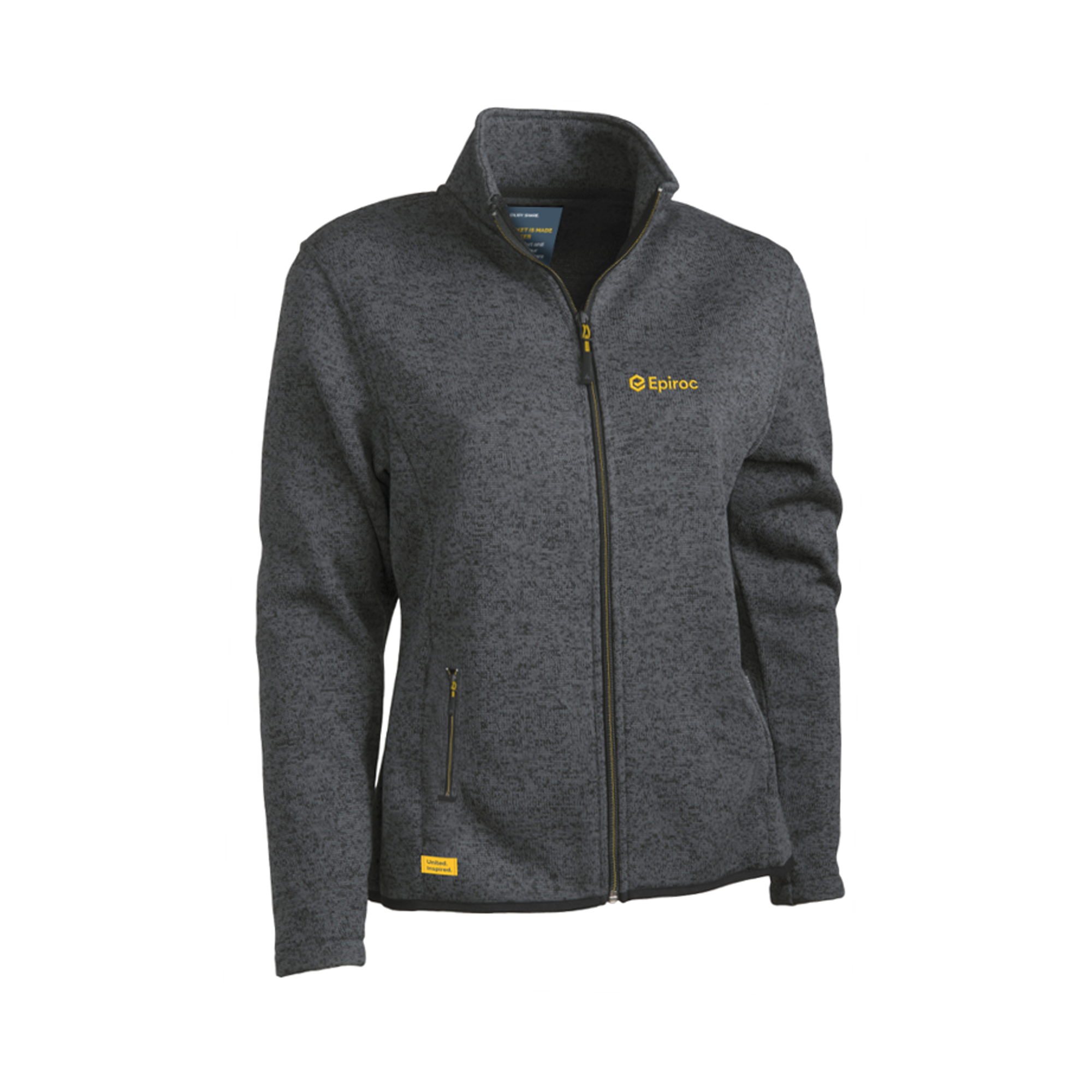 Smoothly knitted fleece jacket in anti-pilling polyester. Reversed zippers with yellow details. Grey mélange in your own PMS color. Unisex sizes.