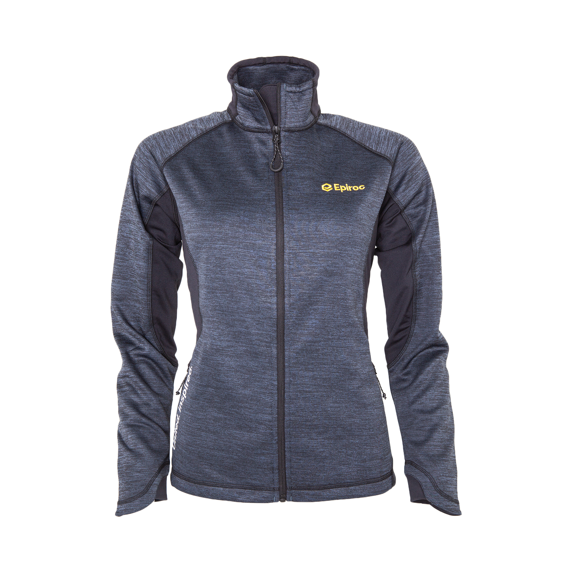Knit power fleece jacket. Centre front contrast reversed coil zipper. Front pocket with zipper. Flatlock stitching details in contrast colour. Interior media pocket.