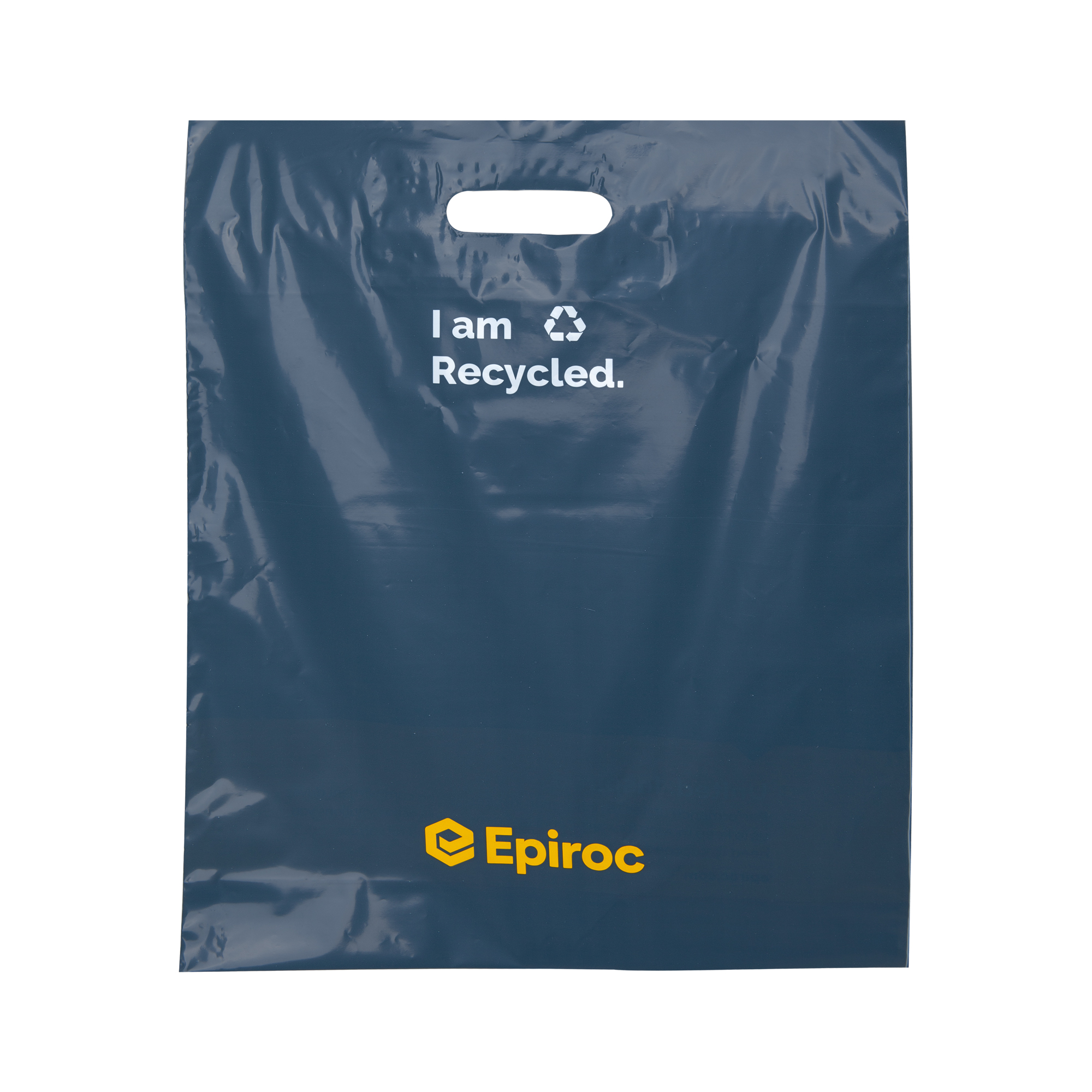 Epiroc branded plastic bag in recycled material with logo, brand promise and own pantone color. Perfect to use at events and other occasions to make the Epiroc brand visible in people's hands.